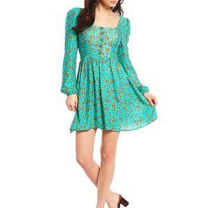 Chelsea & Violet Floral Teal Rayon Vintage Dress